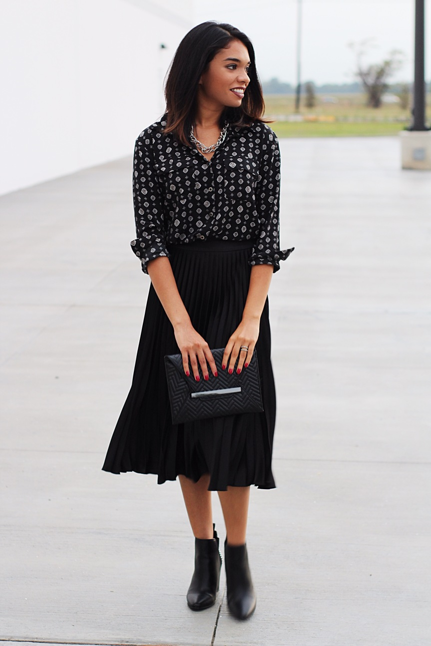 Black and Pleated